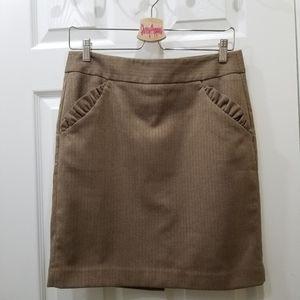 Loft Tan Teeed Look Pencil Skirt Pockets